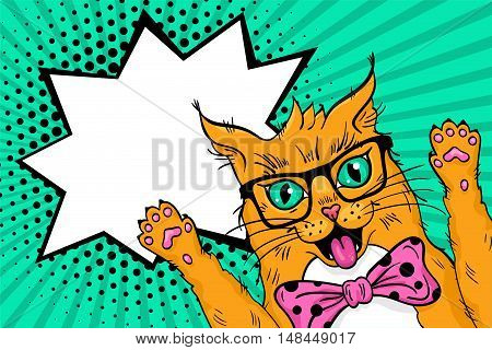 Wow Pop Art Red Cat  Face. Funny Surprised Cat In Glasses With Open Mouth Rising His Paws Up. Vector