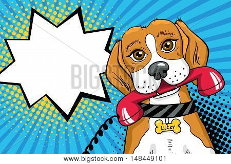 Funny Pop Art Dog With Big Sad Eyes Holding Red Telephone Receiver In Mouth. Vector Bright Illustrat