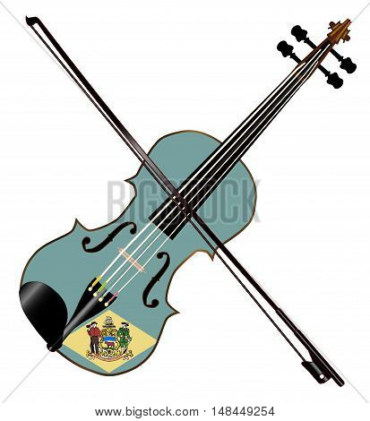 A typical violin with Delaware state flag and bow isolated over a white background