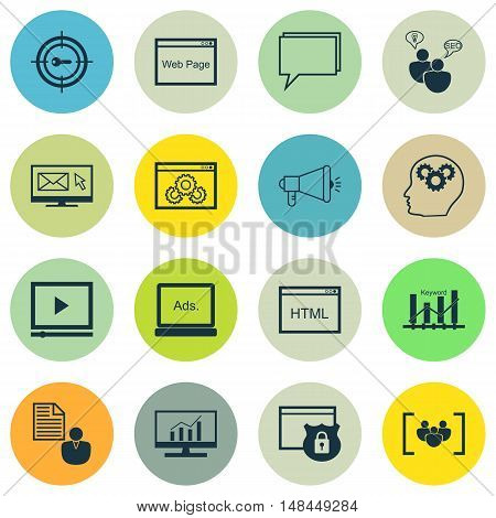 Set Of Seo, Marketing And Advertising Icons On Viral Marketing, Comprehensive Analytics, Creativity