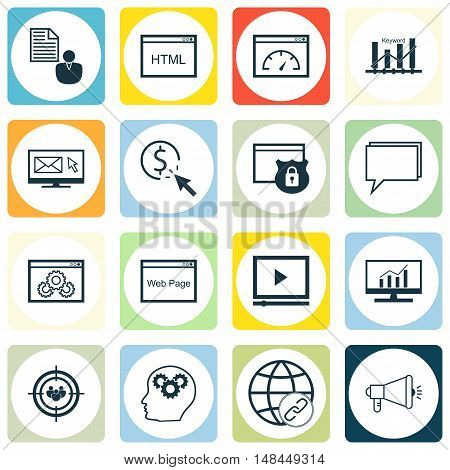 Set Of Seo, Marketing And Advertising Icons On Viral Marketing, Email Marketing, Page Speed And More