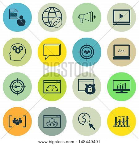 Set Of Seo, Marketing And Advertising Icons On Viral Marketing, Link Building, Website Protection An