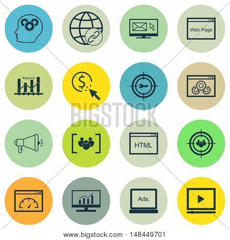 Set Of Seo, Marketing And Advertising Icons On Pay Per Click, Creativity, Email Marketing And More.