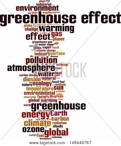 Greenhouse effect word cloud concept. Vector illustration