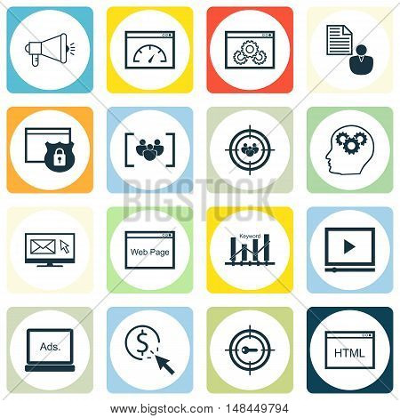 Set Of Seo, Marketing And Advertising Icons On Video Advertising, Web Page, Html Code And More. Prem
