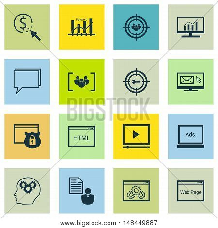 Set Of Seo, Marketing And Advertising Icons On Creativity, Email Marketing, Website Optimization And