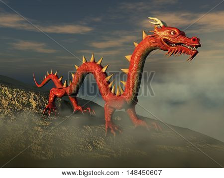 3d illustration of a red Asian dragon