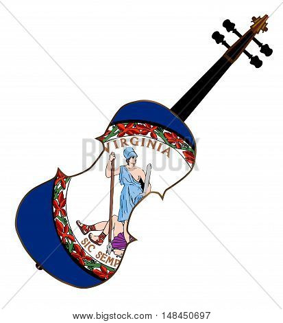 A typical violin with Virginia state flag isolated over a white background