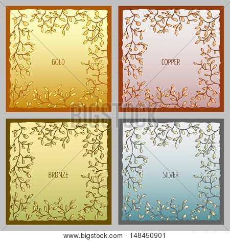 Set of metal vector frames. Metallic colors gold, copper, bronze and silver
