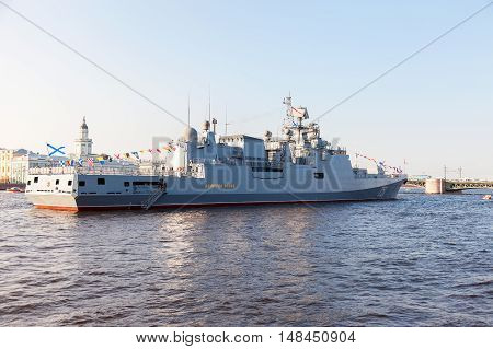ST. PETERSBURG RUSSIA - JULY 31 2016: Patrol ship