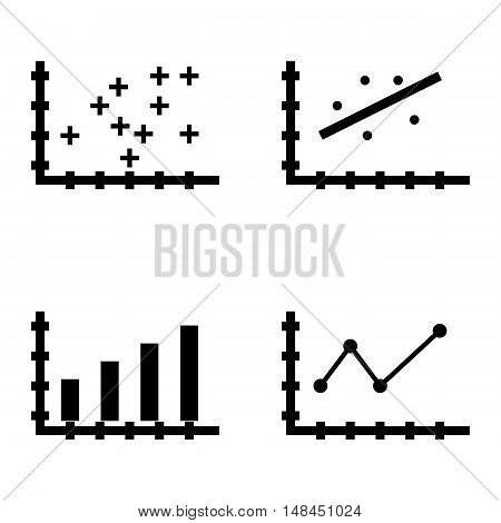 Set Of Statistics Icons On Pointed Line Chart, Plotter Point Chart, Bar Chart And More. Premium Qual