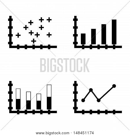 Set Of Statistics Icons On Pointed Line Chart, Stacked Bar, Plotter Point Chart And More. Premium Qu