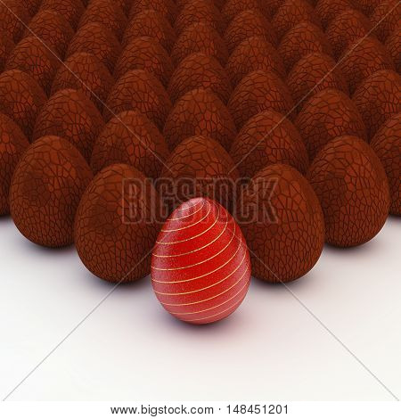 Decorated and chocolate eggs , Easter , 3d illustration