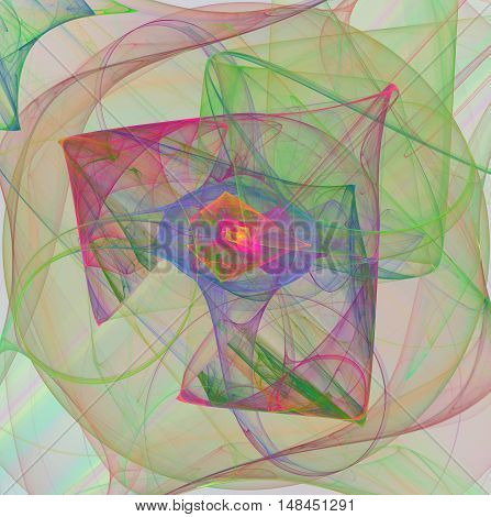 abstract fractal colorful background with chaotic curves on the white