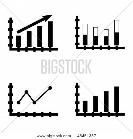 Set Of Statistics Icons On Bar Chart, Pointed Line Chart, Statistics Growth And More. Premium Qualit