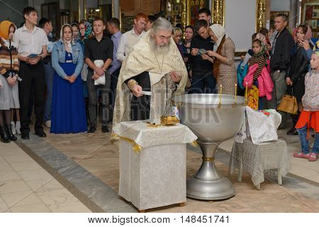 August 12 2015: Photo of baptized in the Orthodox Church. Cheboksary. Russia