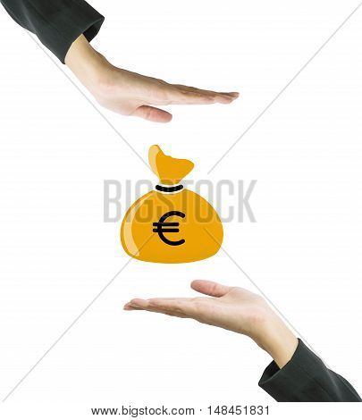 Closeup a brown money bag in us dollar currency at the center of working woman hand isolated on white background in business concept with clipping path
