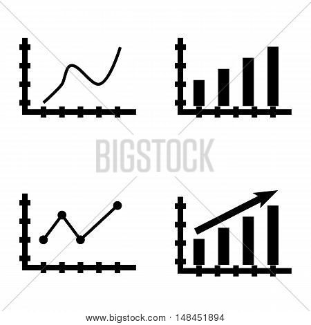 Set Of Statistics Icons On Statistics Growth, Bar Chart, Curved Line And More. Premium Quality Eps10