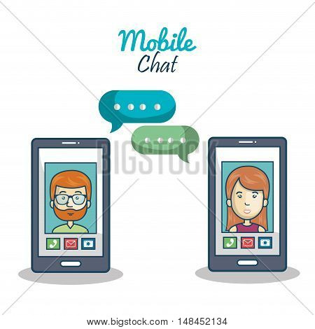 cartoon smartphone character mobile chat graphic vector illustration eps 10