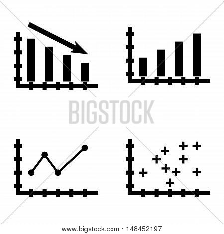 Set Of Statistics Icons On Pointed Line Chart, Bar Chart, Statistics Down And More. Premium Quality