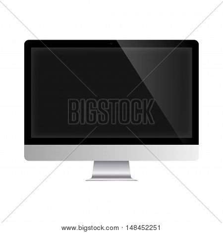 Popular screen monitor. Modern computer display with black screen. Isolated on white. Vector illustration.