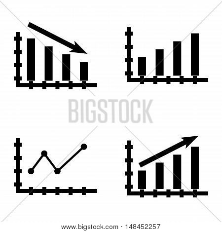 Set Of Statistics Icons On Statistics Down, Bar Chart, Pointed Line Chart And More. Premium Quality