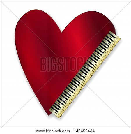 A love heart and piano keys over a white background