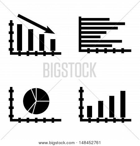 Set Of Statistics Icons On Bar Chart, Horizontal Bar Chart, Statistics Down And More. Premium Qualit