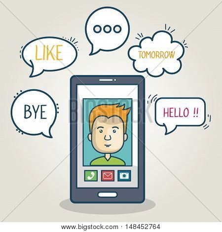 cartoon smartphone man mobile chat graphic vector illustration eps 10
