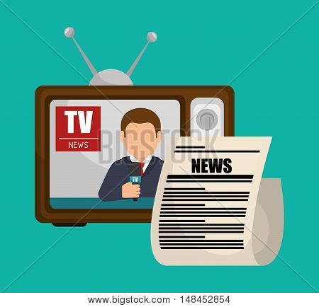 tv retro anchorman news graphic vector illustration eps 10
