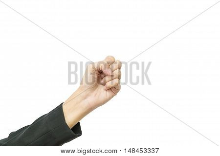Closeup action of working woman clench one's fists isolated on white background with clipping path