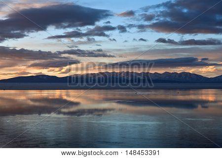 Lake Manasarovar (mapam Yumco) At The Sunset, Tibet
