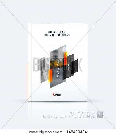 Brochure template layout, cover design annual report, magazine, flyer, leaflet in A4 with yellow grey green dynamic rectangle, triangles with overlap effect for business and technology. Creative artwork.
