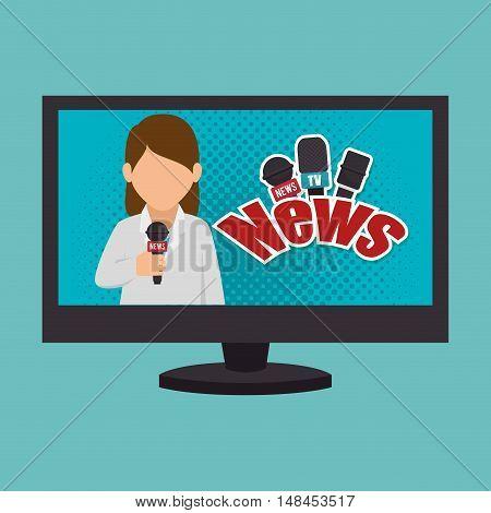 cartoon tv news reporter woman graphic vector illustration eps 10