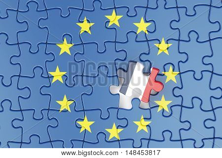 France and EU puzzles from flags relation concept. 3d rendering