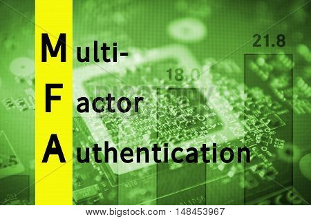 Acronym MFA as Multi-factor authentication. Abstract illustration.