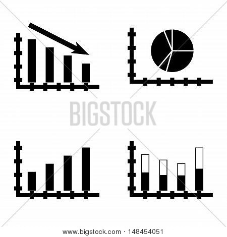 Set Of Statistics Icons On Bar Chart, Stacked Bar, Statistics Down And More. Premium Quality Eps10 V