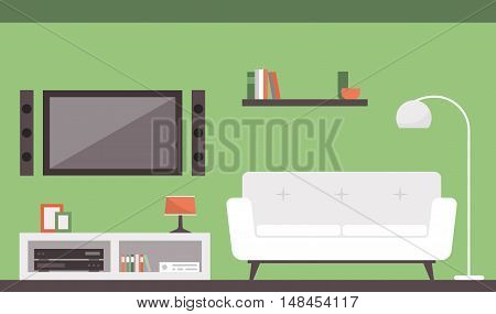 Modern living room with sofa and television interior design concept