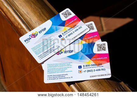 SOCHI RUSSIA - OCTOBER 31 2015: Card ski-pass for passage of gondola cable car funicular railway. Card-pass with scratch-stripe and two-dimensional bar-code. Rosa Khutor Alpine ski resort. Constructed from 2003 to 2011. Krasnaya Polyana Sochi Krasnodarski