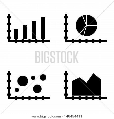 Set Of Statistics Icons On Bubble Chart, Area Chart, Bar Chart And More. Premium Quality Eps10 Vecto
