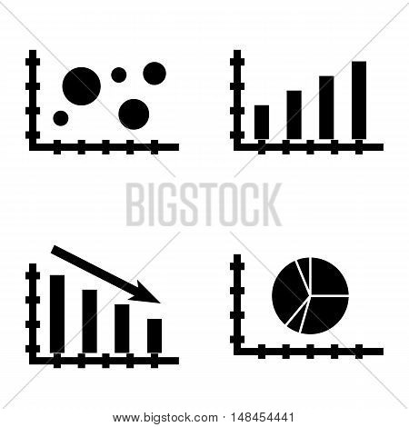 Set Of Statistics Icons On Statistics Down, Pie Chart, Bar Chart And More. Premium Quality Eps10 Vec