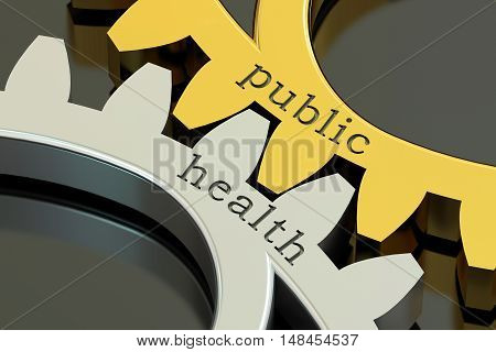 public health concept on the gearwheels 3D rendering