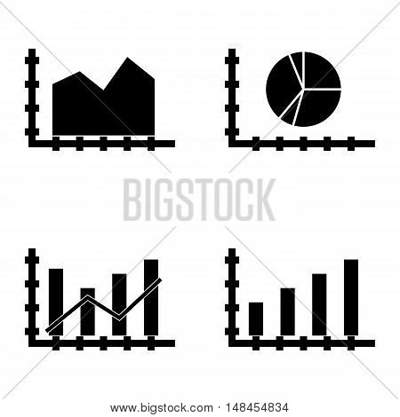 Set Of Statistics Icons On Bar Chart, Area Chart, Dynamics Graph And More. Premium Quality Eps10 Vec