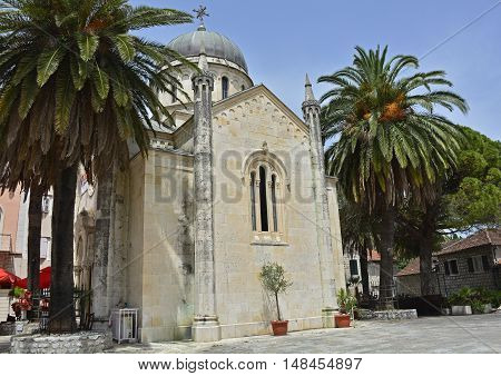 The Orthodox Church of Archangel Michael located in the main square of old town Herceg Novi was built between 1883 and 1919 out of Korcula stone.