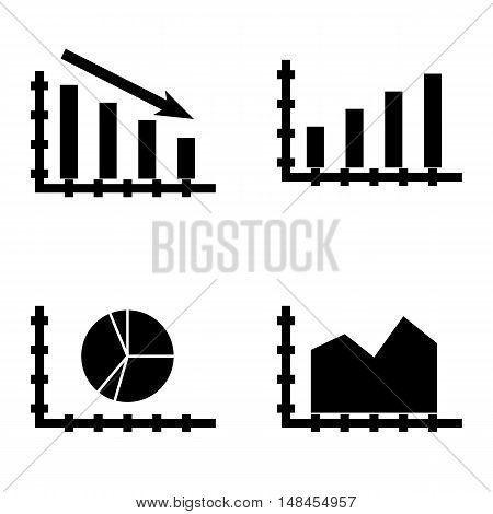 Set Of Statistics Icons On Area Chart, Statistics Down, Bar Chart And More. Premium Quality Eps10 Ve