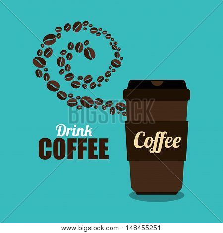 coffee cup brown and beans graphic vector illustration esp 10