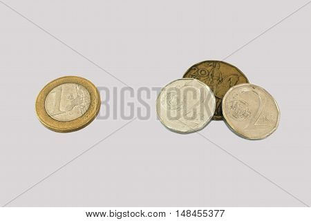 Exchange rate of the Czech koruna to one euro coin