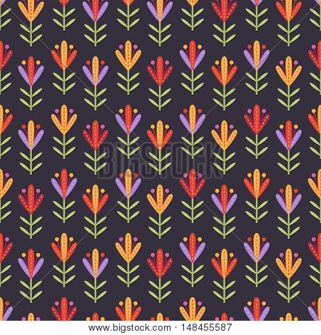 Seamless pattern with decorative flowers with big stamens in red yellow and lilac colors on dark purple background