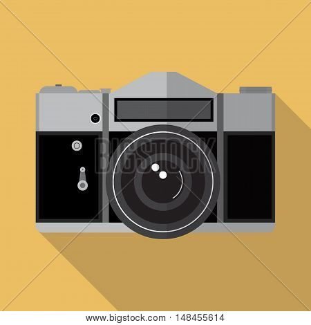 Retro Manual Photo Camera Flat Icon
