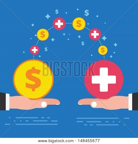 Paid sick leave days concept design. Corporate business company health care policy. Economic benefit of paid time off for workers staying home with illness. Vector illustration